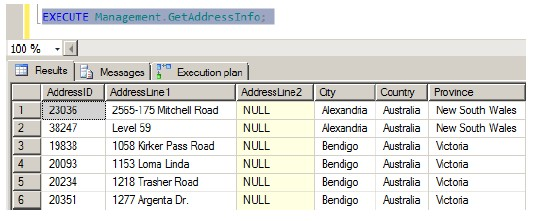 Executing a SQL Server procedure