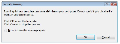 The T4 template security dialog box