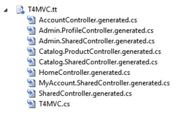 Helper files generated from the T4MVC templates